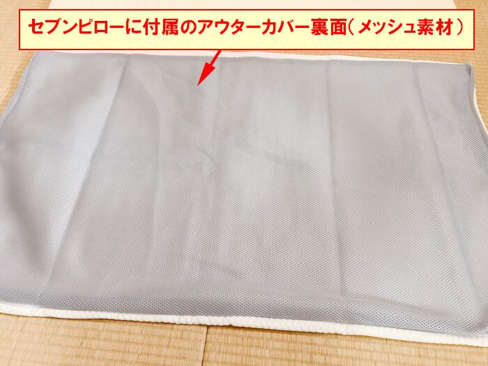 セブンスピローの付属の専用カバーの裏面(メッシュ素材)の画像